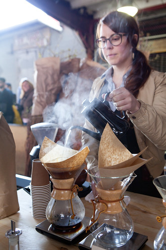 Blue Bottle brewing Chemex-style coffee