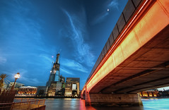I See Many Lights (TheFella) Tags: city uk longexposure greatbritain bridge blue light red england sky urban moon slr london water lamp yellow thames clouds digital photoshop canon londonbridge river eos lights photo high twilight construction lowlight europe neon cityscape dynamic unitedkingdom dusk capital explore photograph hour processing slowshutter gb bluehour dslr shard range riverthames hdr highdynamicrange southwark bankside urbanla