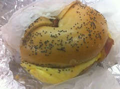Bacon, Egg, and Cheese Sandwich - Pumpernickel Bagel, LIC