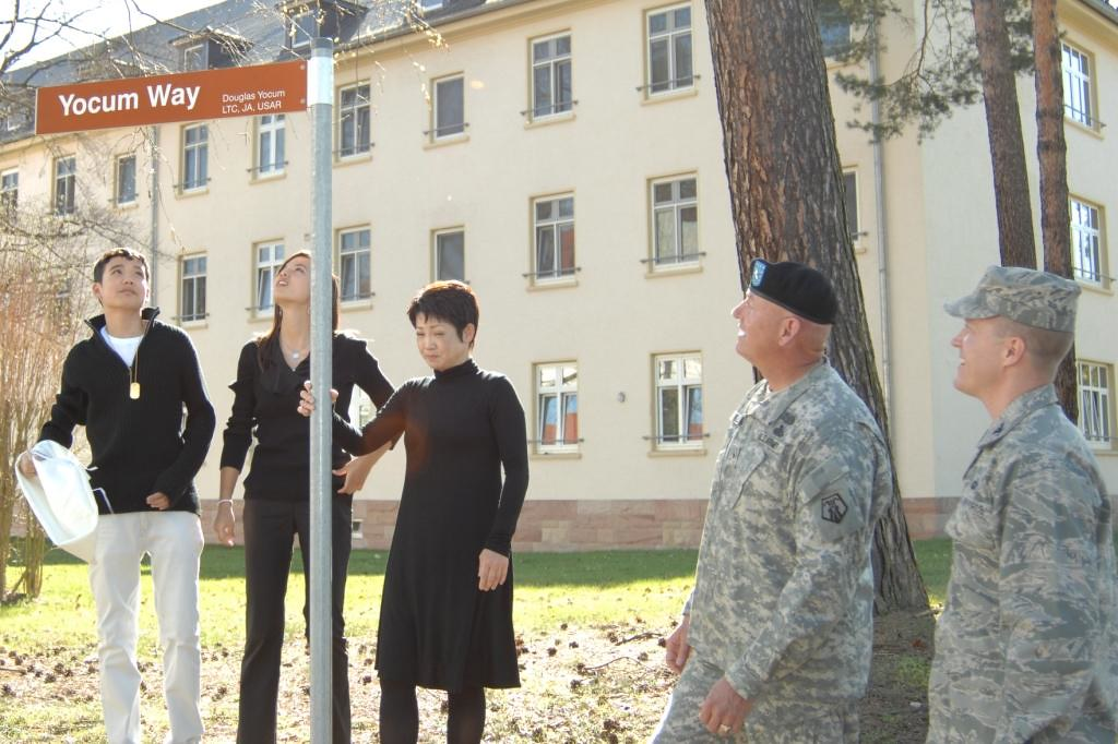 Street sign dedicated to former Senior Civilian Attorney for the SETAF