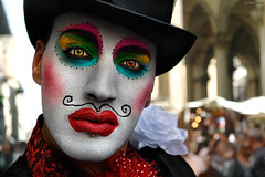 Queen (Ben Heine) Tags: street portrait italy woman man game flower art love fleur look hat fashion club fun happy photography sadness florence moving colorful king artist italia different clown satire culture makeup happiness clubbing hobby pop lips player parade moustache transgender nostalgia identity difference chapeau photoediting caricature carnaval expressive firenze identité bisexual lipstick gaypride dragqueen presence performer rue diva reine androgyny maquillage gender genre peau homme transsexual regard déguisement lèvres postprocessing transvestism theartistery whiteskin transexuel benheine touchant samsungimaging