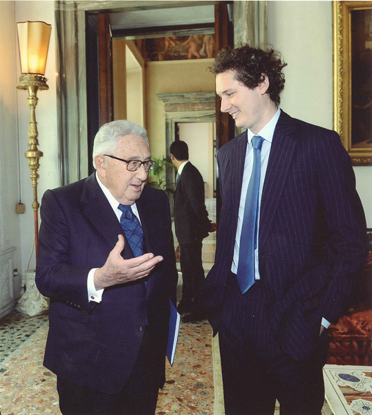 John Elkann with Henry Kissinger in Rome