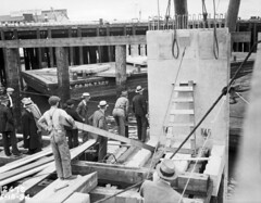 First slab of seawall being placed, 1934 (Seattle Municipal Archives) Tags: seattle 1930s workers construction seawall pugetsound elliottbay seattlemunicipalarchives