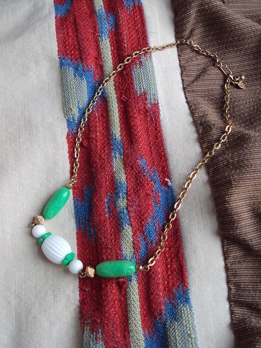 Vintage Green and White Necklace