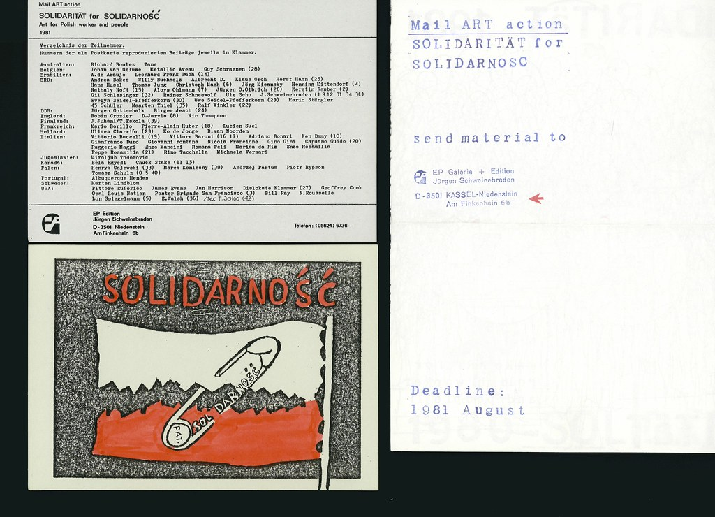 SOLIDARNOSC: 41 postcards in folder.  Invitation to the project.  Exhibition's announcement and participants list.