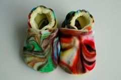 *0-6 Months*  Chocolate Rainbow Organic Bamboo Velour Booties *Seconds*