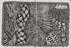National Treasure with volcanoes (molossus, who says Life Imitates Doodles) Tags: art journal zia tangle paperblanks zentangle zendoodle zentangleinspiredart