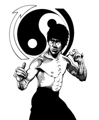 Bruce Lee (saintsink) Tags: life ladies sea woman white man black sexy men art fashion lady illustration contrast pen ink work hair fun model women play models scuba diving hobby diver dots brucelee exciting pointalism stippling jeetkunedo junfan