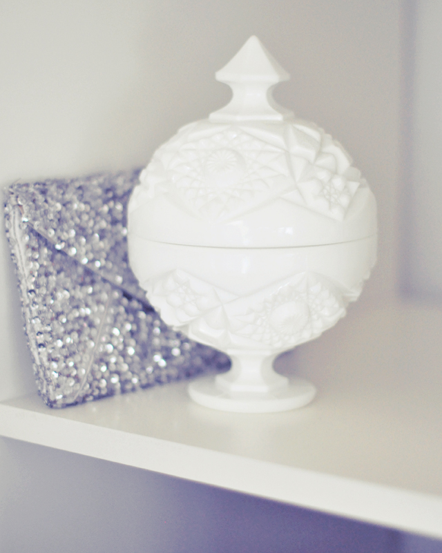 vintage candy dish and silver sequined clutch