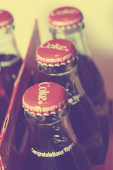 105/365.2011 {Vintage Coke Bottles} (Lysha - A Camera & A Cookbook) Tags: vintage april cokebottles auburntigers 2011 365april2011 nationalchampionshipbottles