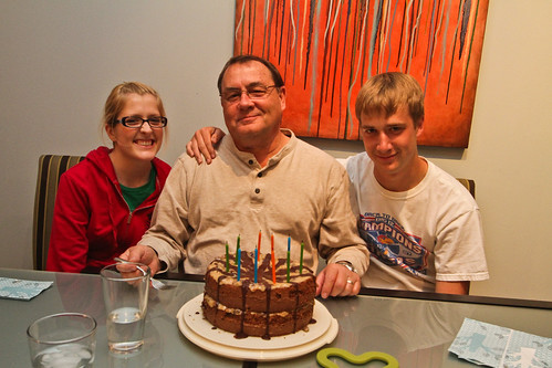 Emily, Steve, & Eric and the german chocolate cake I made from scratch