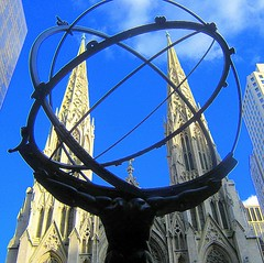 Atlas and St. Patrick's Cathedral (SHOTbySUSAN) Tags: nyc newyorkcity ny newyork manhattan stpatrickscathedral rockefellercenter atlas fifthavenue rockerfellercenter onlyinnewyork nyclpc shotbysusan yahoo:yourpictures=sculptures yahoo:yourpictures=wonders
