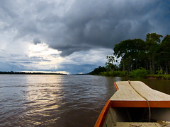 Approaching Rain (clee130) Tags: travel light sky cloud sun peru water clouds canon river geotagged photography boat amazon rainforest skies cloudy powershot traveling per loreto lodges amazonriver amazonrainforest explorama s95 yanamono canonpowershots95 amazonexploramalodges