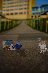 Bears at work A3 prints from 14.99 email Rob asahiart@graphic-designer.com (Rob Chisholm) Tags: road blur building grass sign blind chairs path rail jar mole skunk
