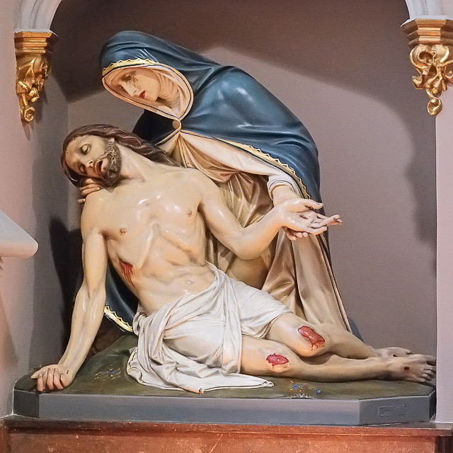 "Saint Alphonsus Ligouri (""Rock"") Roman Catholic Church, in Saint Louis, Missouri, USA - pieta"
