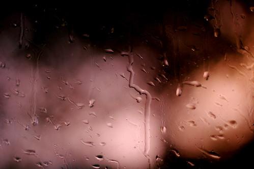 Monday: Creepy sunset and rain on the window