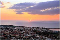 Sunset in Kyparissia  ! (k.kounalaki) Tags: travel blue sunset sea sun yellow port buildings greek bay town colours gulf view panoramic greece kyparissia caretta
