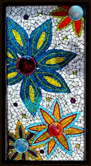 Mosaic Bubble Flowers (Rachel K. Jones) Tags: stainedglasswindow mosaicflower mosaicart stainedglassmosaic