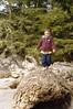Leify walking on driftwood