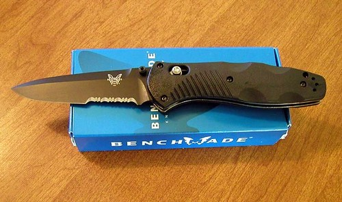 "Benchmade Barrage AXIS-Assisted 3.6"" Black Combo Blade, Valox Handles"