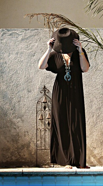 caftan+palm tree+pool+turquoise necklace+squash blossom necklace+warm