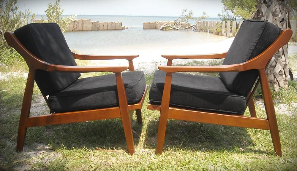 Vintage Danish Modern Lounge Chair Pair Mid Century Eames Era Teak