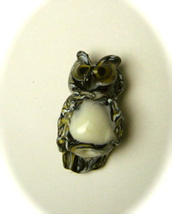 Guardian 2 Owl Bead (SimplP) Tags: art glass torch owl bead lampwork pendant flamework hotglass torchwork softglass