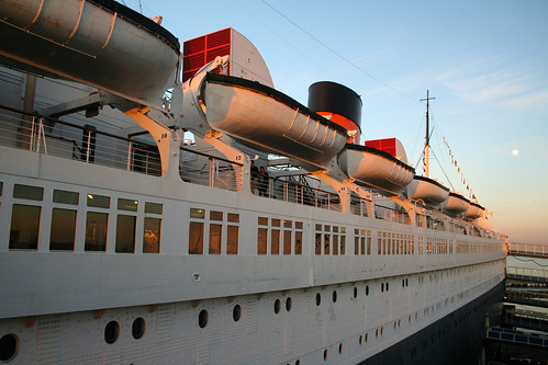 Queen Mary - Looking Aft + Moon