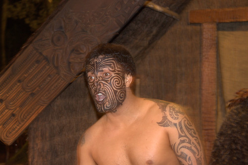 A Maori warrior's  facial tribal tattoos