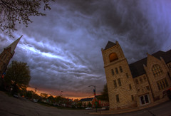 churches storm (davedehetre) Tags: sunset sky storm church clouds dark landscape lawrence spring ominous fisheye kansas thunderstorm 8mm hdr looming portent photomatix samyang prooptic
