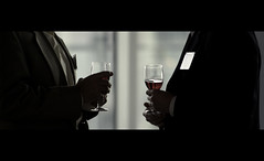 man talk. (Vitaliy P.) Tags: wedding red men film movie glasses nikon chat suits candid name tag ring iso plastic alcohol crop conference talking cinematic 1000 70200mm photoduo vrii d700 vitaliyp gettylicensed photographyduo