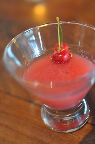 Early Sweet cherries, nigori, bluecoat gin, floc de gascgne and mint