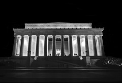 "Lincoln Memorial At Night, ""A New Birth Of Freedom"", Washington, DC (Gerald L. Campbell) Tags: blackandwhite bw washingtondc blackwhite dc washington scenic lincolnmemorial dcist kodachrome pictorial olympusom2n moument scenicphotography 28mmzuikolens 4tografie minoltamultiproscanner pictorialphotograpy"