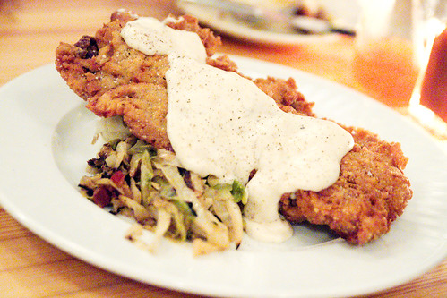 country fried steak, mashed potatoes, hot slaw