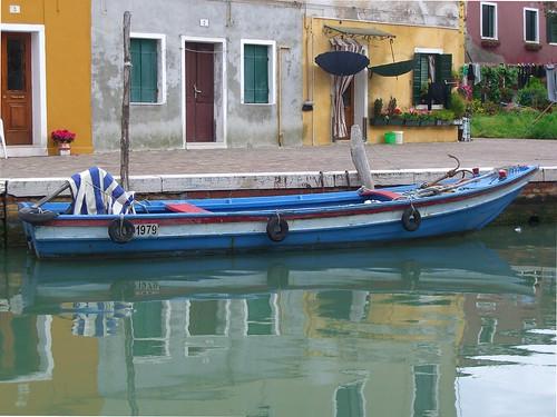 Venice Blue Boat by Danalynn C