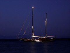 NIGHT SAILING (dimitra_milaiou) Tags: life blue sea summer sky moon love nature water night reflections dark landscape boats island greek lights one 1 boat europe ship sony horizon hellas happiness greece moonlight summertime emotions samos dimitra  dscp93a  aigaio   milaiou
