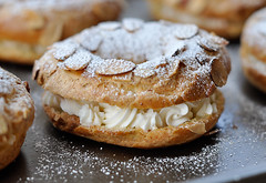 Paris-Brest - all done (crystaloptera) Tags: california food french dessert berkeley yummy italian  yum sweet almond delicious homemade pastry choux pate parisbrest buttercream nom pte