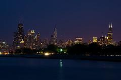 Metropolis (benchorizo) Tags: longexposure chicago skyline twilight nikon lakemichigan nightshots bluehour banias d90 belmontharbor