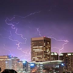 Electric (Sky Noir) Tags: travel storm rain electric skyline night virginia downtown cityscape stormy richmond va lightning spark thunder atmospheric rva thunderstorms discharge wx electrostatic skynoircom bybilldickinsonskynoircom