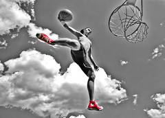 Flyin' high. (Sizzo-grafy) Tags: sky basketball sport clouds america photoshop hoop ball germany fly high jump nikon shoes basket body nation himmel oldschool tokina jordan schuhe chucks sprung korb fliegen spalding springen 1116mm sizzografy