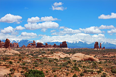 Arches National Park and LaSalle Mountains (hkkid98) Tags: travel blue sky mountains nature utah nationalpark desert arches moab lasalle