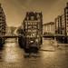 Hamburg, Speicherstadt  - Blick von der Poggenmühlenbrücke bei ablaufenden Wasser (Analogaufnahme Nikon F5)