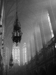 Sacred space (Towner Images) Tags: liverpool cathedral chapel ladychapel light shadow silhouette incense chandelier luminaire sacred holy merseyside church christ christian god towner townerimages 2014 lightnight stainedglass window copyright bw mono monochrome greyscale monochromatic