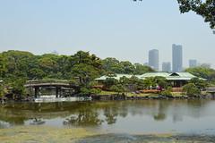 Hama-rikyu Gardens (Jamie Barras) Tags: bridge lake japan garden japanese tokyo pond may teahouse shiodome 2014 ochaya