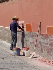 A working day (_EdG_) Tags: beijing forbiddencity china man working wall painting shadow sunny