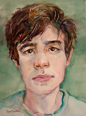 """inquisitive"" - watercolour (Nora MacPhail) Tags: sktchy sktchyapp sktchyinspired portrait portraits watercolour watercolor pencil face faces people person male model life figure dailypainter daily painter paintworks etsy instagram noramacphail"