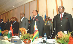 Leaders gather at the Southern Africa Development Community (SADC) where a resolution was passed on the situation in Zimbabwe. President Mugabe is shown on the far right of the photograph. by Pan-African News Wire File Photos