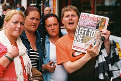 Outrage 3/3 Rhoda Crosbie Story (Anthony Cronin) Tags: city ireland analog superia protest cancer state irelanddublin inner street fuji irishlife street social 200 mother dublinlife council council deprivation dublin single dublinirish housing poverty flat streetsdublin dublinliving dunne failure tpastreet dublinirelandnikonf8050mmf14d24mmf28danthonycroninallrightsreservedirishphotographystreetsdublinstreetphotographystreetsofdublin rhoda crosbie outrage photangoirl