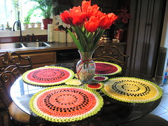 WaTErMeLOn PLaCe mATs (wiLDaBoUtCoLoR) Tags: crochet watermelon homemade placemats wildaboutcolor