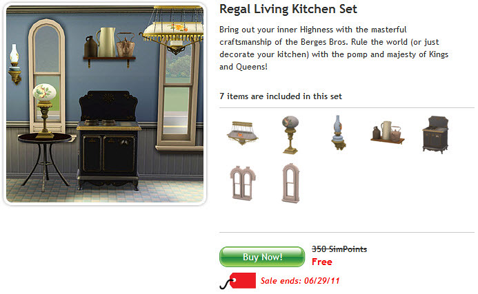 Free Sims 3 Regal Living Kitchen Set